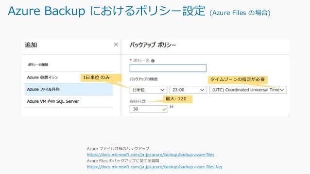 Azure Backup におけるポリシー設定 (SQL Server on Azure VMの場合) https://docs.microsoft.com/ja-jp/azure/backup/backup- azure-sql-databa...
