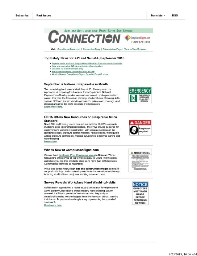 Visit: ComplianceSigns.com | Connection Blog | Subscription Page | View in Your Browser Top Safety News for <<*First Name>...