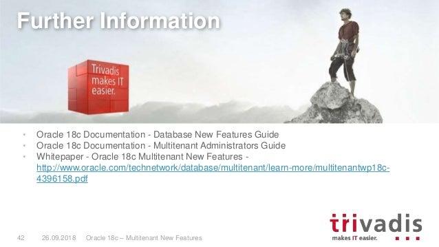 TechEvent 18c Multitenant New Features
