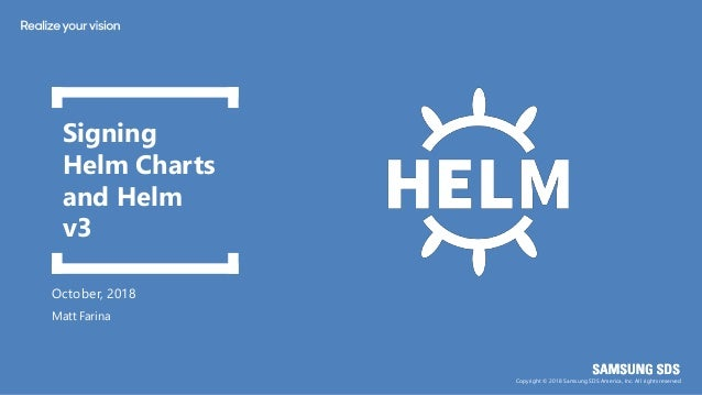 Copyright © 2018 Samsung SDS America, Inc. All rights reserved October, 2018 Signing Helm Charts and Helm v3 Matt Farina