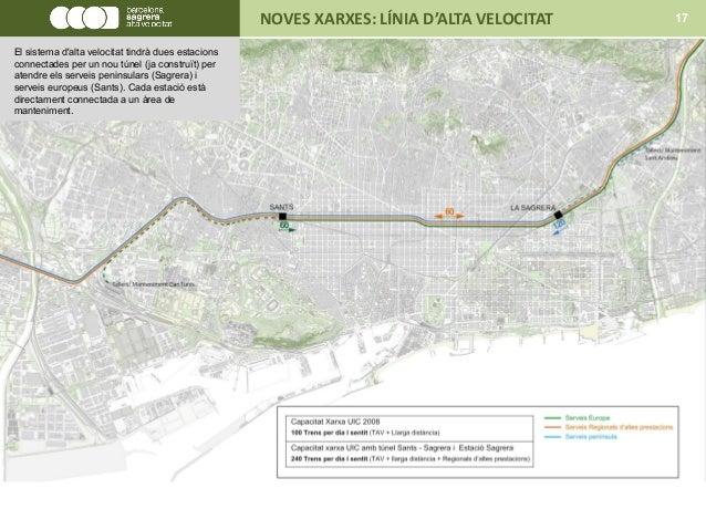 NOVES XARXES: LÍNIA D'ALTA VELOCITAT 17 El sistema d'alta velocitat tindrà dues estacions connectades per un nou túnel (ja...