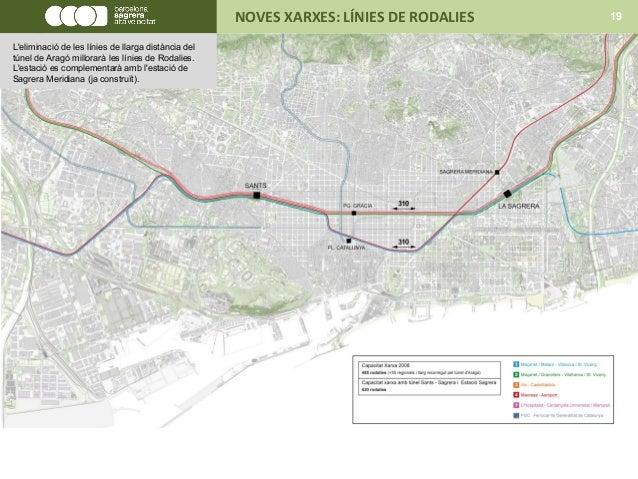 NOVES XARXES: LÍNIES DE RODALIES 19 L'eliminació de les línies de llarga distància del túnel de Aragó millorarà les línies...