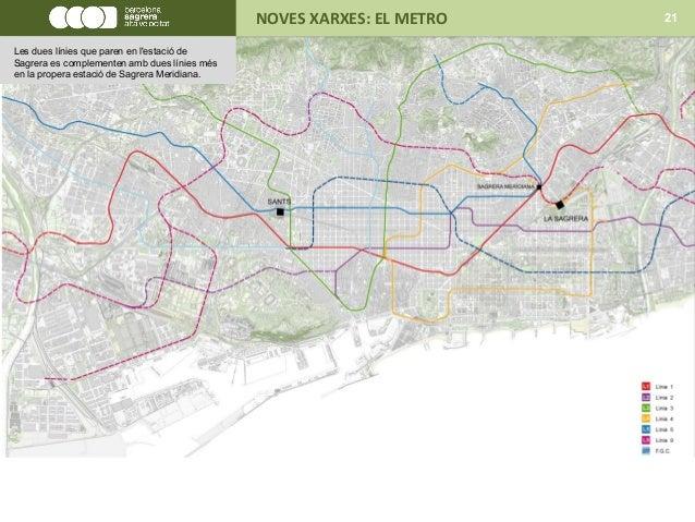NOVES XARXES: EL METRO 21 Les dues línies que paren en l'estació de Sagrera es complementen amb dues línies més en la prop...