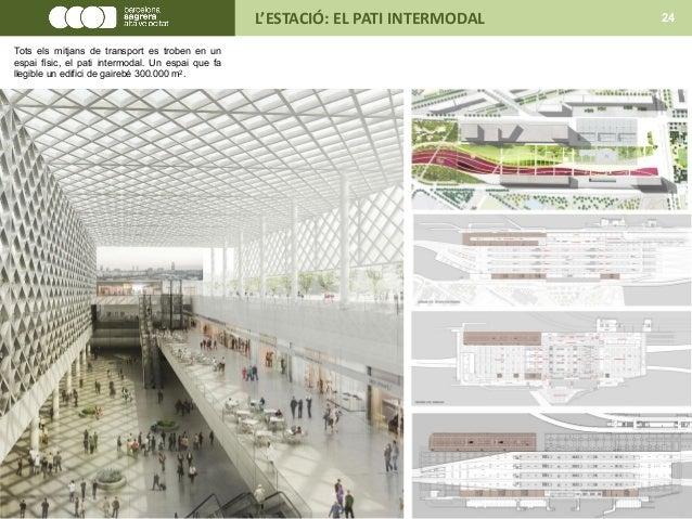 L'ESTACIÓ: EL PATI INTERMODAL 24 Tots els mitjans de transport es troben en un espai físic, el pati intermodal. Un espai q...