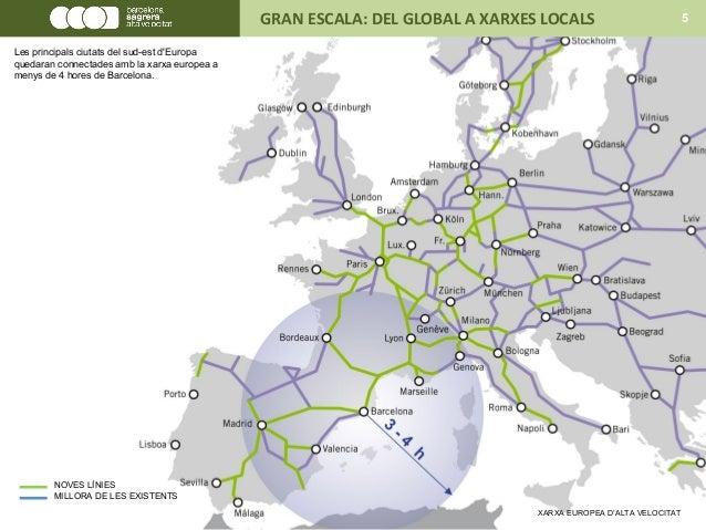XARXA EUROPEA D'ALTA VELOCITAT NOVES LÍNIES MILLORA DE LES EXISTENTS GRAN ESCALA: DEL GLOBAL A XARXES LOCALS 5 Les princip...
