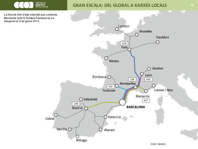 FONT: RENFE GRAN ESCALA: DEL GLOBAL A XARXES LOCALS 6 La línia de tren d'alta velocitat que connecta Barcelona amb la fron...