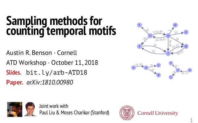 1 Joint work with Paul Liu & Moses Charikar (Stanford) Sampling methods for counting temporal motifs Austin R. Benson · Co...