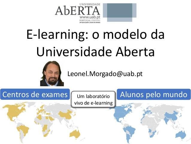 Alunos pelo mundoCentros de exames E-learning: o modelo da Universidade Aberta Leonel.Morgado@uab.pt Um laboratório vivo d...