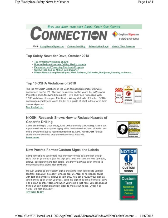 Visit: ComplianceSigns.com | Connection Blog | Subscription Page | View in Your Browser Top Safety News for Dave, October ...