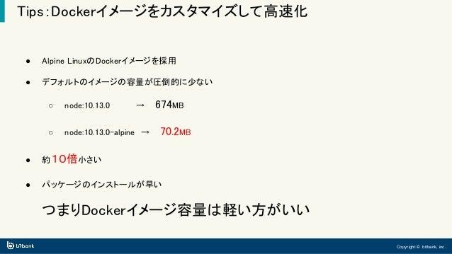 Copyright © bitbank, inc. Tips:Dockerイメージをカスタマイズして高速化 ● Alpine LinuxのDockerイメージを採用 ● デフォルトのイメージの容量が圧倒的に少ない ○ node:10.13.0 ...