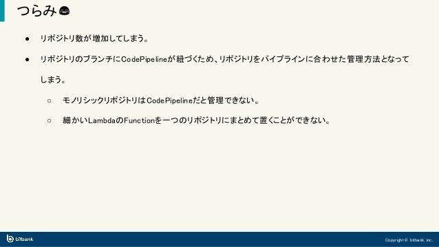 Copyright © bitbank, inc. つらみ😂 ● リポジトリ数が増加してしまう。 ● リポジトリのブランチにCodePipelineが紐づくため、リポジトリをパイプラインに合わせた管理方法となって しまう。 ○ モノリシックリポ...