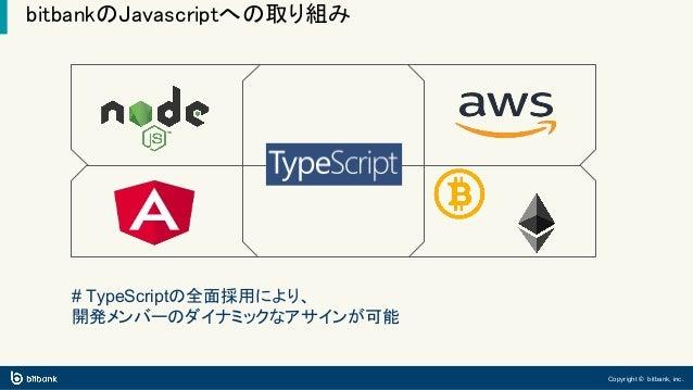 Copyright © bitbank, inc. bitbankのJavascriptへの取り組み # TypeScriptの全面採用により、 開発メンバーのダイナミックなアサインが可能
