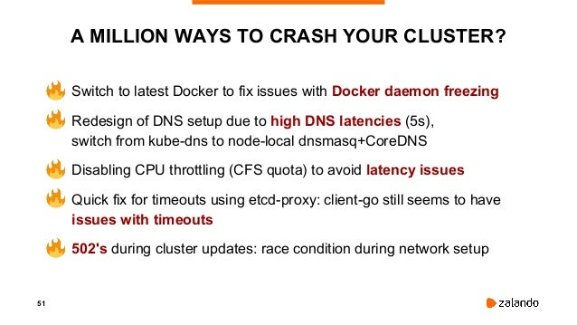 53 RACE CONDITIONS.. • Switch to the latest Docker version available to fix the issues with Docker daemon freezing • Redes...