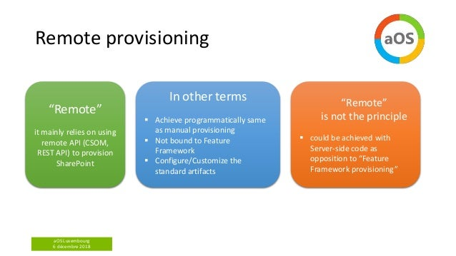aOS Luxembourg 6 décembre 2018 Remote provisioning In other terms  Achieve programmatically same as manual provisioning ...