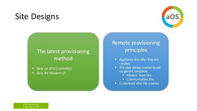 aOS Luxembourg 6 décembre 2018 Site Designs Remote provisioning principles  Applies to sites after they are created  The...