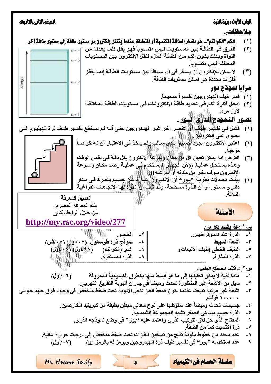 األولالبابالذرةبنية:الثانوىالثانىالصف 5 الكيمياء فى احلسام سلسلةMr. Hossam Sewify :مالحظات- (1)ال...