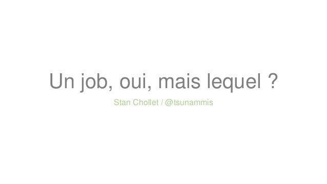 Un job, oui, mais lequel ? Stan Chollet / @tsunammis