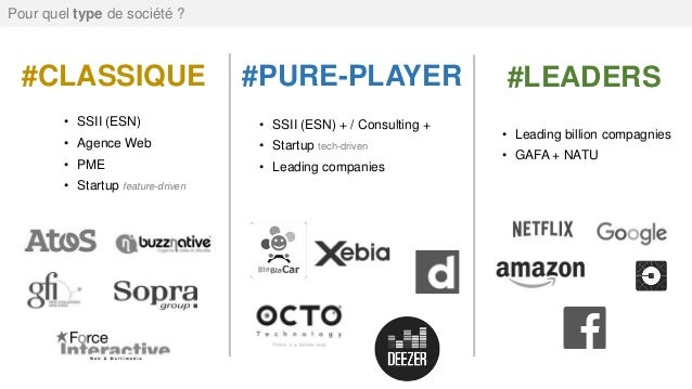#CLASSIQUE • SSII (ESN) • Agence Web • PME • Startup feature-driven #PURE-PLAYER #LEADERS • SSII (ESN) + / Consulting + • ...