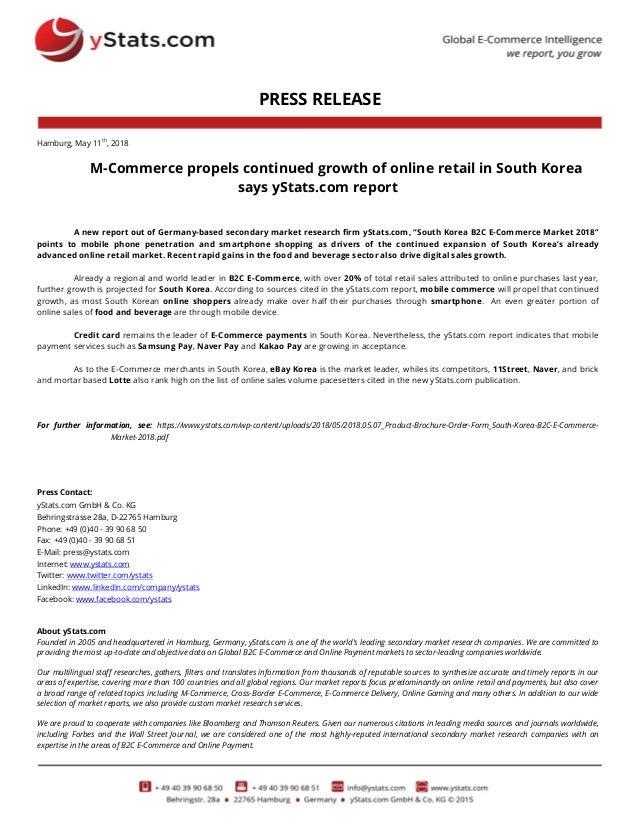 Press Release South Korea B2c E Commerce Market 2018