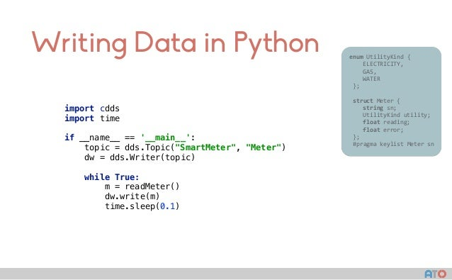 """Writing Data in Python import cdds import time  if __name__ == '__main__': topic = dds.Topic(""""SmartMeter"""", """"Meter"""") dw..."""