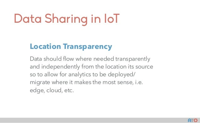 Data Sharing in IoT Data should flow where needed transparently and independently from the location its source so to allow ...