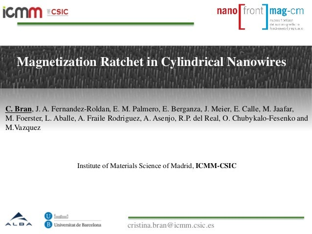 Magnetization Ratchet in Cylindrical Nanowires Institute of Materials Science of Madrid, ICMM-CSIC C. Bran, J. A. Fernande...