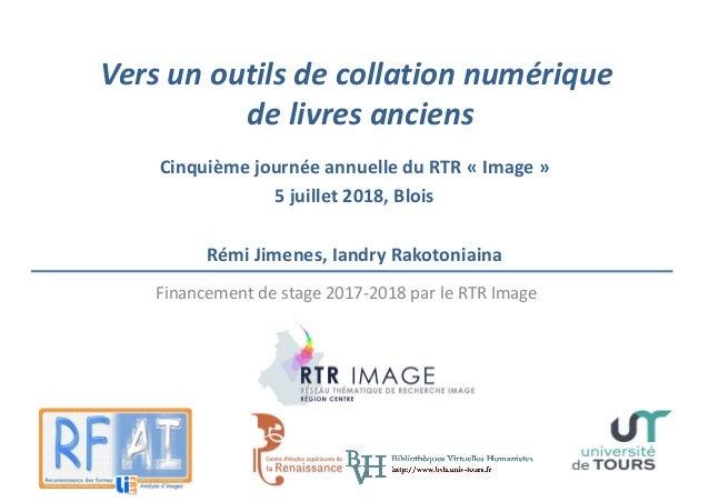 Versunoutilsdecollationnumérique delivresanciens CinquièmejournéeannuelleduRTR«Image» 5juillet2018,Blois...