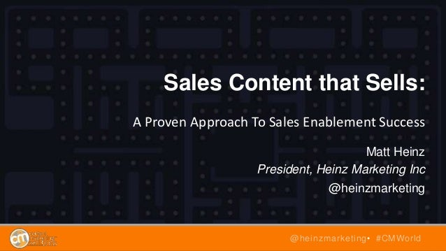 Sales Content that Sells: A Proven Approach To Sales Enablement Success Matt Heinz President, Heinz Marketing Inc @heinzma...