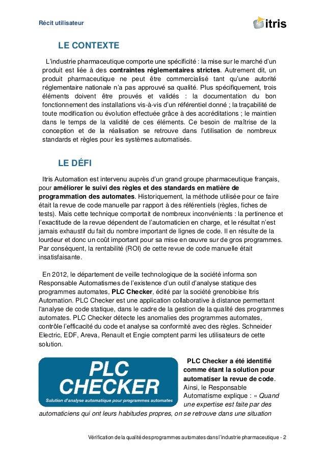 Récit utilisateur Vérification de la qualité des programmes automates dans l'industrie pharmaceutique - 2 LE CONTEXTE L'in...