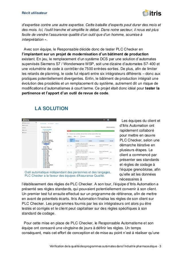 Récit utilisateur Vérification de la qualité des programmes automates dans l'industrie pharmaceutique - 3 d'expertise cont...