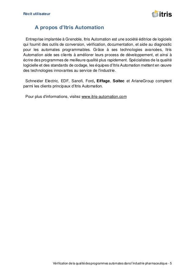 Récit utilisateur Vérification de la qualité des programmes automates dans l'industrie pharmaceutique - 5 A propos d'Itris...