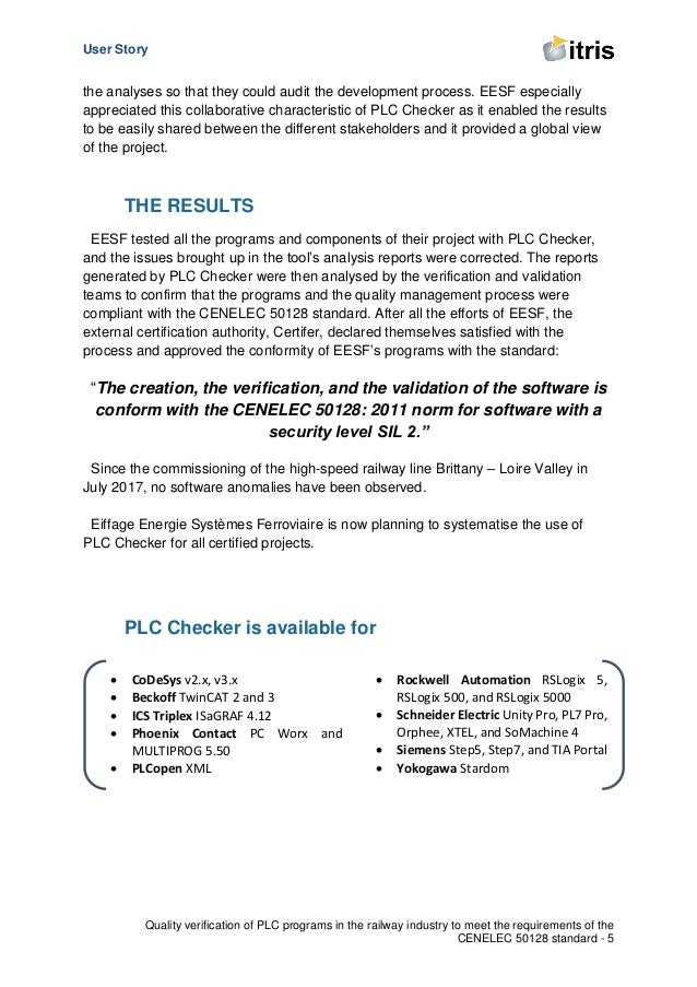 User Story Quality verification of PLC programs in the railway industry to meet the requirements of the CENELEC 50128 stan...