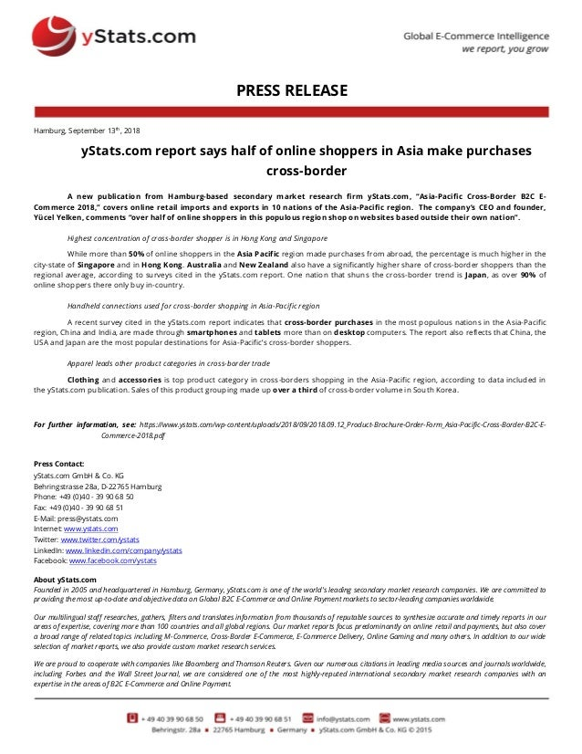 PRESS RELEASE Hamburg, September 13th, 2018 yStats.com report says half of online shoppers in Asia make purchases cross-bo...