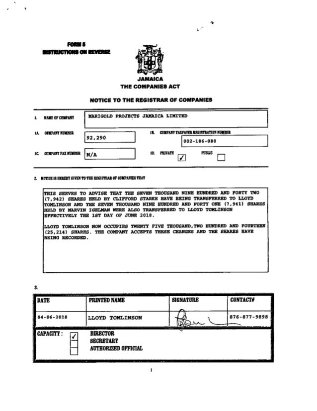 Marigold share transfer to Lloyd Tomlinson