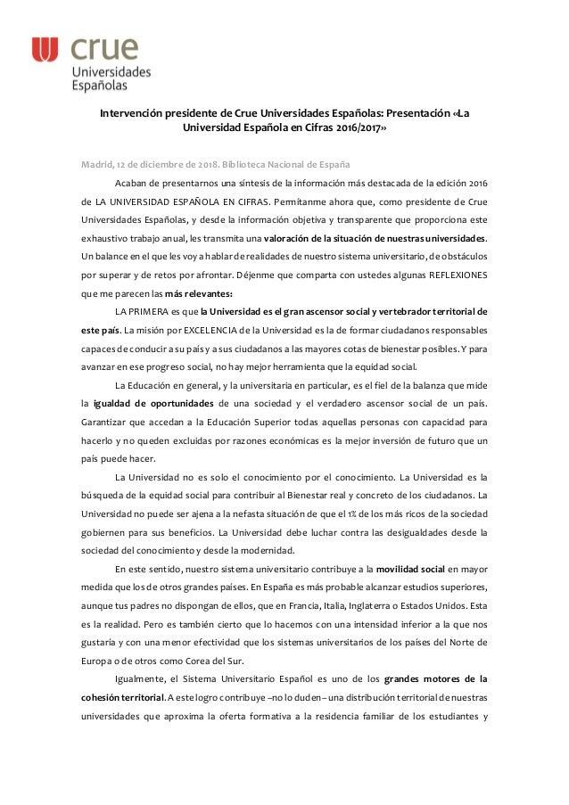 Intervención presidente de Crue Universidades Españolas: Presentación «La Universidad Española en Cifras 2016/2017» Madrid...