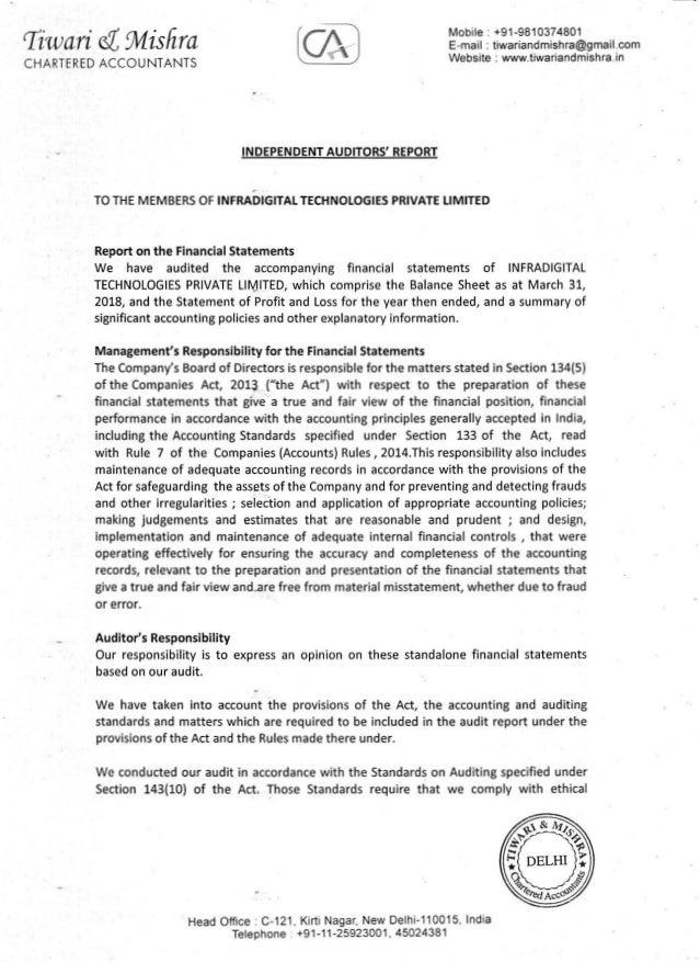 tiwari s(, Wlsfrra CHARTERED ACCOUNTANTS INDEPENDENT AUDITORS' REPORT f .- TO THE MEMBERS OF INFRADIGITAL TECHNOLOGIES PRI...