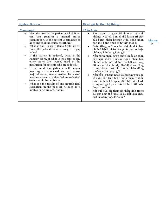 Mục-lục   11 System Review Đánh giá lại theo hệ thống Neurologic Thần kinh  Mental status: Is the patient awake? If so, c...