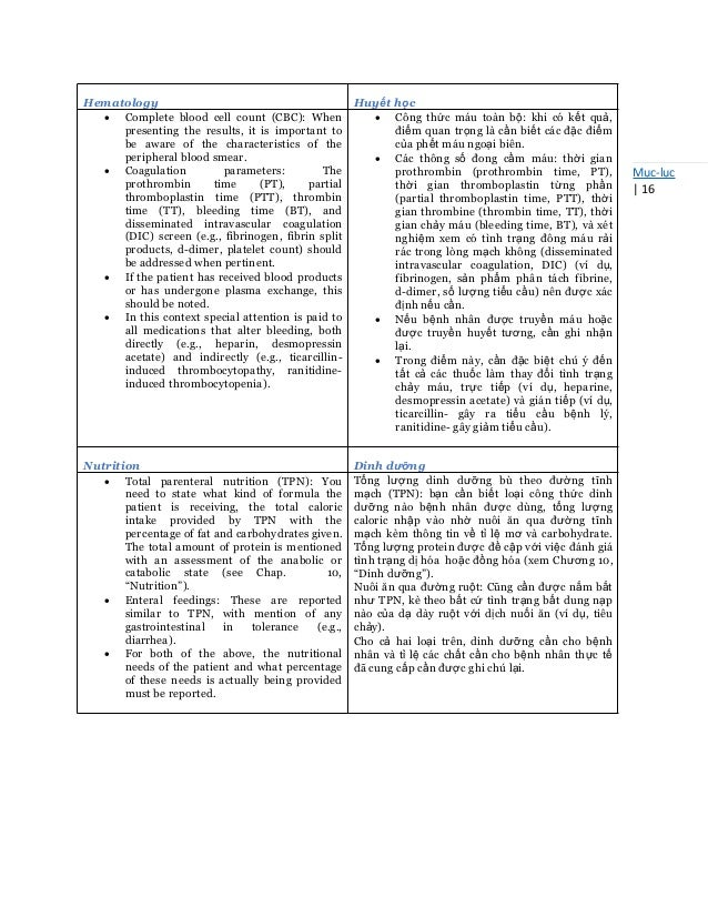 Mục-lục   16 Hematology Huyết học  Complete blood cell count (CBC): When presenting the results, it is important to be aw...