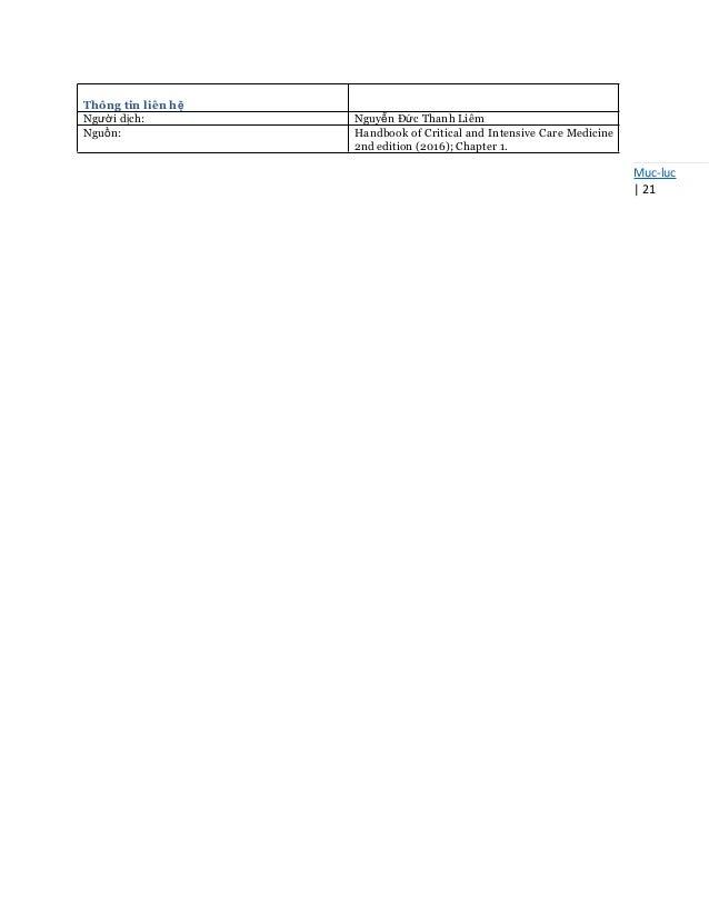 Mục-lục   21 Thông tin liên hệ Người dịch: Nguyễn Đức Thanh Liêm Nguồn: Handbook of Critical and Intensive Care Medicine 2...
