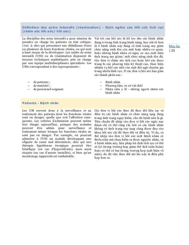 Mục-lục   23 Définition des soins intensifs (réanimation) - Định nghĩa của Hồi sức tích cực (chăm sóc hồi sức/ hồi sức) La ...