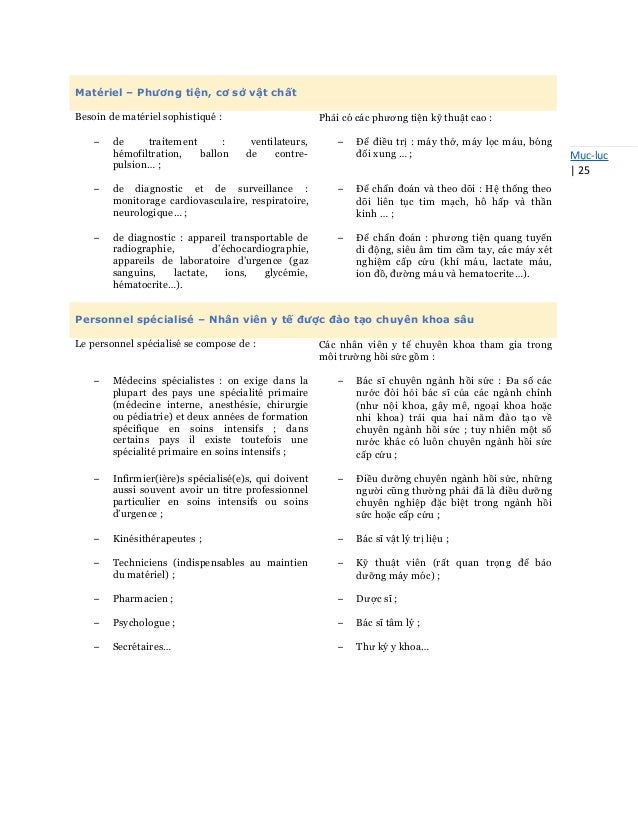 Mục-lục   25 Matériel – Phương tiện, cơ sở vật chất Besoin de matériel sophistiqué : Phải có các phương tiện kỹ thuật cao ...