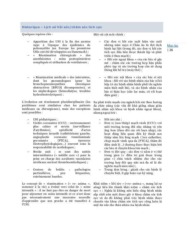 Mục-lục   26 Historique – Lịch sử hồi sức/chăm sóc tích cực Quelques repères clés : Một vài cột mốc chính : – Apparition d...