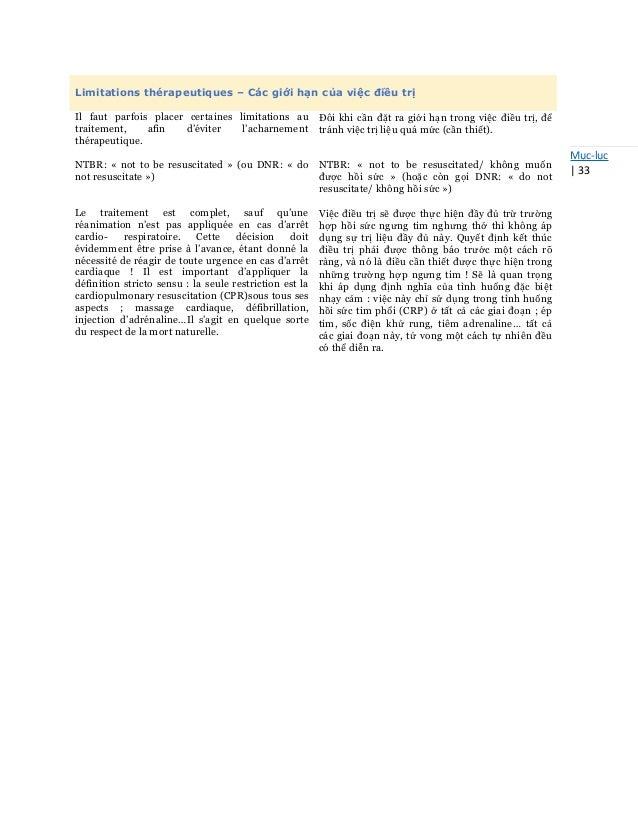 Mục-lục   33 Limitations thérapeutiques – Các giới hạn của việc điều trị Il faut parfois placer certaines limitations au t...