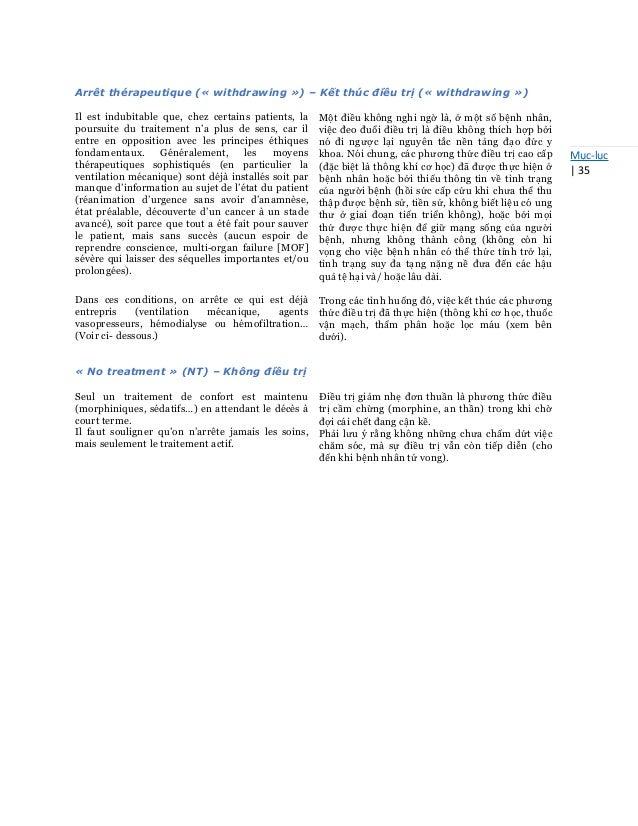 Mục-lục   35 Arrêt thérapeutique (« withdrawing ») – Kết thúc điều trị (« withdrawing ») Il est indubitable que, chez cert...