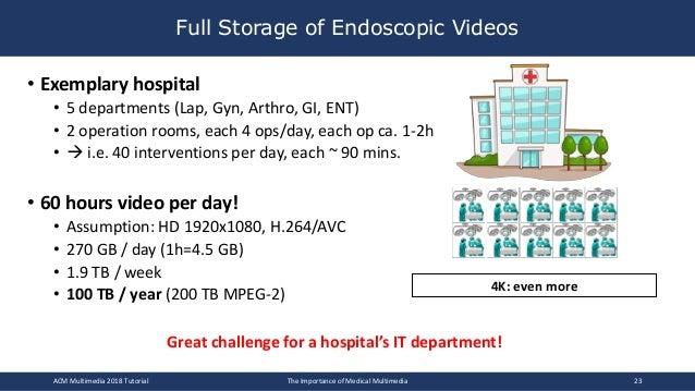 Full Storage of Endoscopic Videos • Exemplary hospital • 5 departments (Lap, Gyn, Arthro, GI, ENT) • 2 operation rooms, ea...