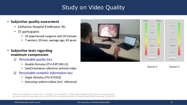 Study on Video Quality • Subjective quality assessment • Catharina Hospital Eindhoven, NL • 37 participants • 19 experienc...