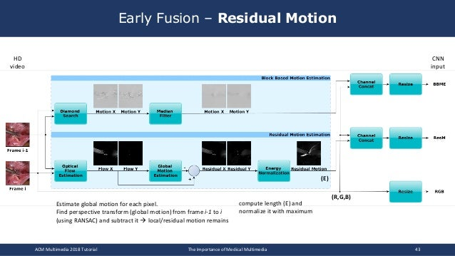 Early Fusion – Residual Motion ACM Multimedia 2018 Tutorial The Importance of Medical Multimedia 43 compute length (E) and...