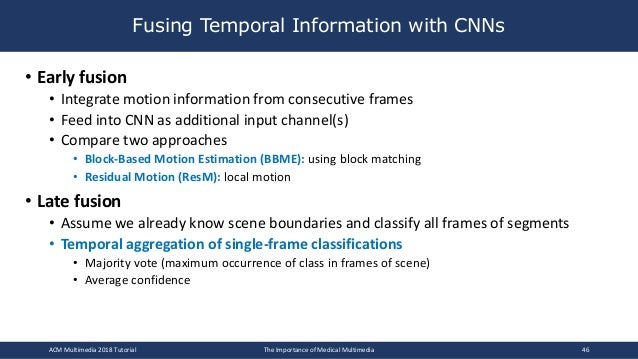 • Early fusion • Integrate motion information from consecutive frames • Feed into CNN as additional input channel(s) • Com...