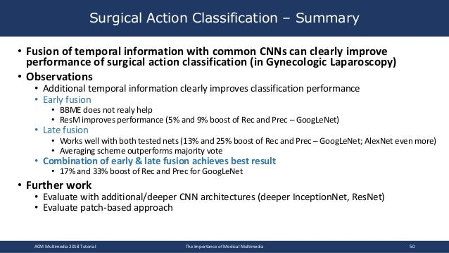 • Fusion of temporal information with common CNNs can clearly improve performance of surgical action classification (in Gy...