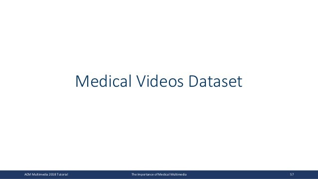 Medical Videos Dataset ACM Multimedia 2018 Tutorial The Importance of Medical Multimedia 57